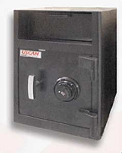 Drop safe used in restaurants and retail stores.  Large cash bills are skimmed from the till and deposited into the safe through a hopper.  This reduces the chances of robbers as staff are not given the combination of the safe.