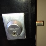 A Schlage B560 Deadbolt installed by professional locksmith in Toronto