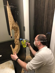 repairing a broken door